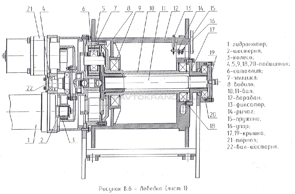 Рисунок В.6 Лебедка (Лист 1)